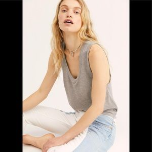 Free People Plunge Relaxed Tank Top Grey